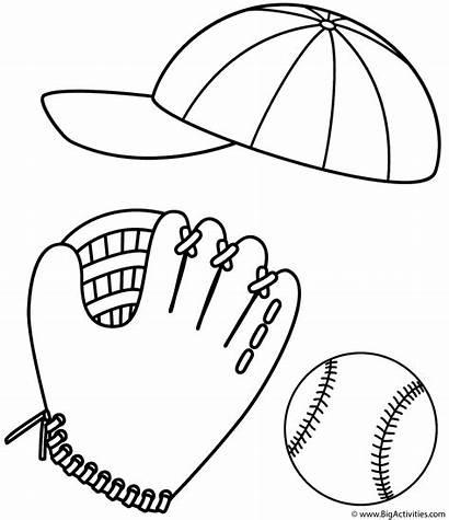 Coloring Baseball Sports Balls Ball Glove Cap