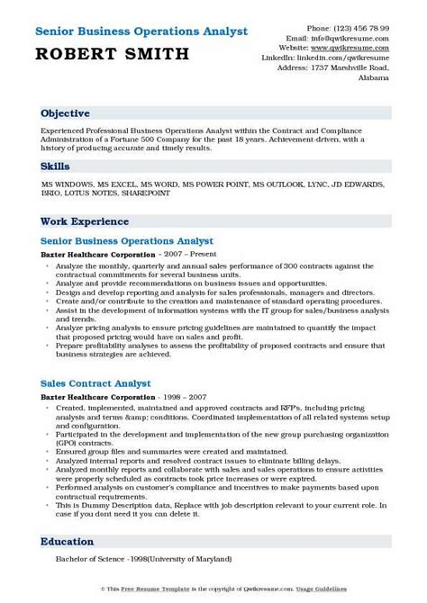 business operations analyst resume sles qwikresume