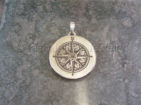 jewelry hand engraved sterling silver compass rose