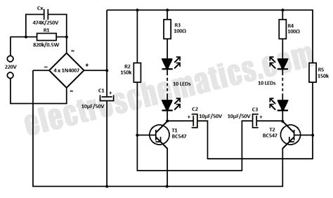 220v Schematic Wiring Diagram by 220v Led Blinker Circuit Repository Circuits 42941