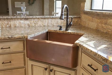 kitchens with corner sinks with copper farm style and cast