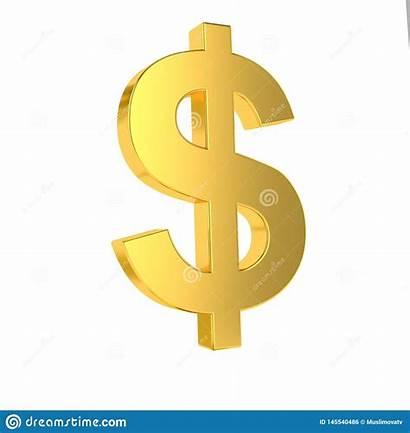 Symbol Usd Dollar Golden Isolated Rendering