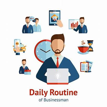Routine Daily Businessman Vector Concept Poster Cartoon