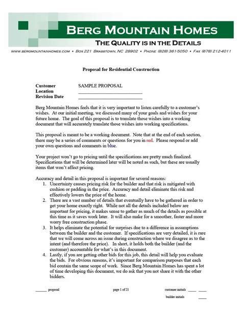 construction proposal template construction bid forms