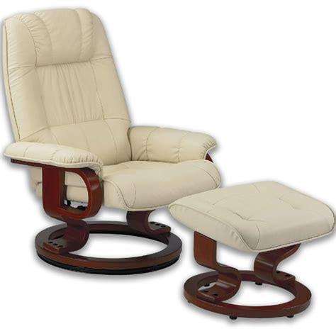 fauteuil massant avec pouf en cuir pied pivotant de techniform