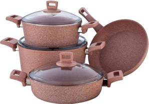 alberto granite series 7pcs cookware set pink