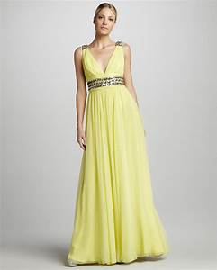 yellow v neck bridesmaid dress onewedcom With yellow wedding dresses bridesmaids