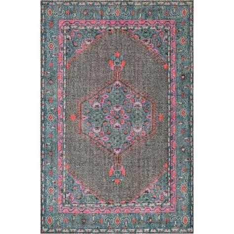 teal and grey rug surya zahra vintage inspired teal and gray knotted