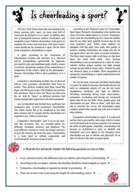 cheerleading  reading comprehension worksheet