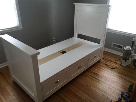 ana white twin size farmhouse bed  storage drawers