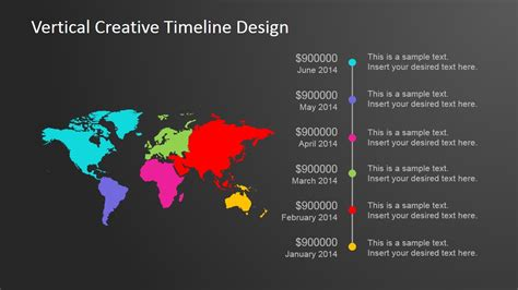 vertical creative timeline design  powerpoint slidemodel
