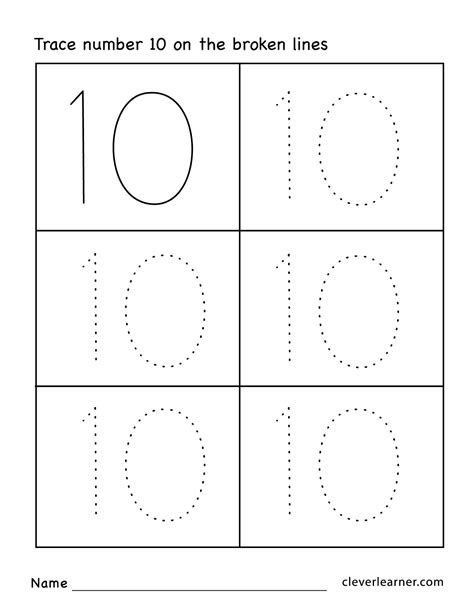 number ten writing counting and identification printable 584 | Number 10 preschool worksheets 02