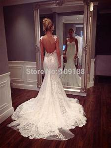 vestido de noiva 2015 new style spaghetti straps sexy low With low back lace mermaid wedding dress