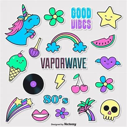 Vaporwave Stickers Doodle Funky Doodles Vecteezy Vectorified