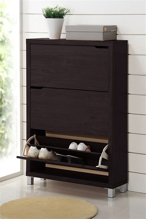 Simms Shoe Cabinet In Cappuccino by Baxton Studio Shoe Cabinets