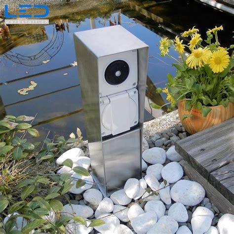 Gartensteckdose Edelstahl 3 X T13 Schweizer Aussensteckdose
