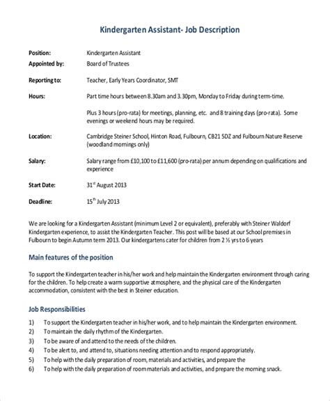 kindergarten teacher job description job brief useful