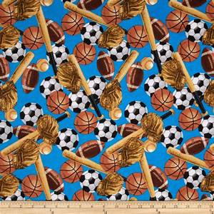 Flannel Tossed Sports Blue - Discount Designer Fabric