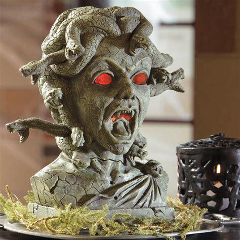 medusa animated halloween bust the green head