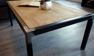 Table Basse Bois Metal : table basse industrielle bois massif et m tal fabrication artisanale ~ Teatrodelosmanantiales.com Idées de Décoration