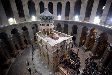 Pictures of Christ's tomb restored at the Church of the