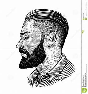 Hand Drawn Portrait Of Bearded Man In Profile. Hipster ...