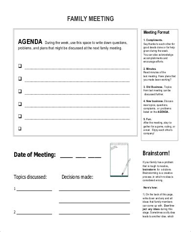 Palliative Care Family Meeting Template by Family Meeting Agenda 22 Meeting Agenda Exles