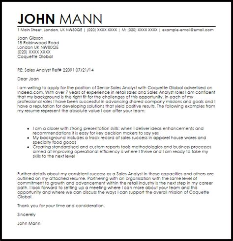 sales analyst cover letter sample cover letter templates examples