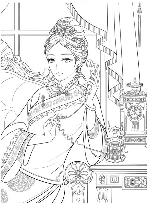 Chinese Portrait Coloring eBook vol. 12 – Kayliebooks in