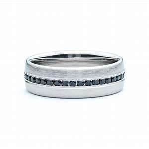 Black Diamond Brushed Men39s Wedding Band JM Edwards Jewelry