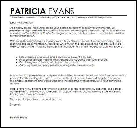 truck driver cover letter sample cover letter templates