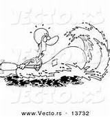 Coloring Raft Outline Cartoon Water Rafting Rushing Rafter Towards Wave Royalty Illustrations Clipart sketch template