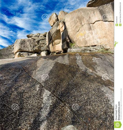 rockscape granite mountain landscape cloud sky stock image
