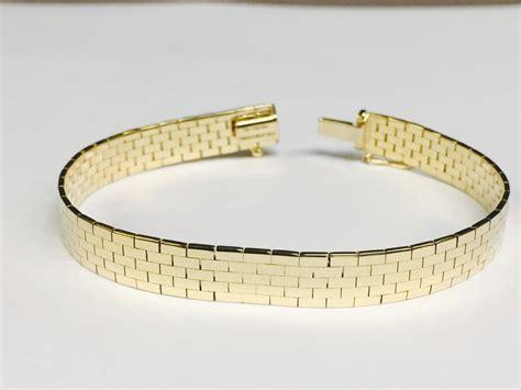 14k Yellow Gold Brick Omega Bracelet, 8 Mm, 7 Inch, 19. Universal Time Bracelet. Gold Bangle Bracelets For Sale. Fractured Diamond. Honeycomb Pendant. Lion Pendant. Black Men Watches. Mesh Bracelet. Police Officer Necklace