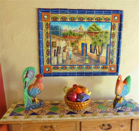 tile murals mexican tiles and wooden side table on