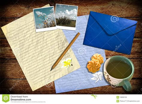 Letter With Mail And Tea On Table Royalty Free Stock Image