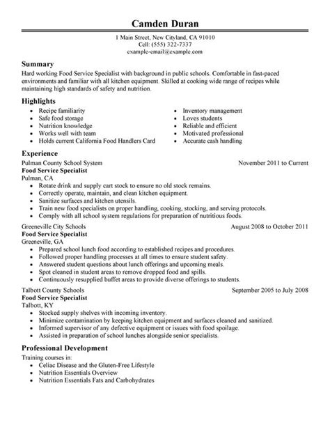 food specialist resume sle my resume