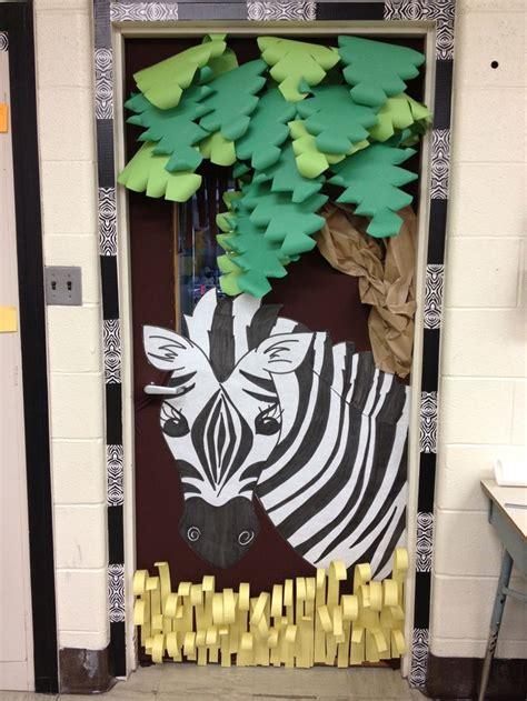 Classroom Decorating Ideas With Zebra Print by Jungle Theme Classroom Door The 3d Classroom Door