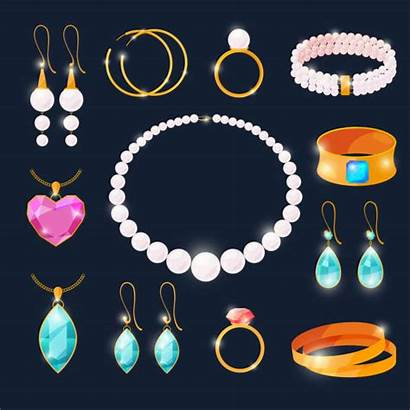 Jewelry Cartoon Necklace Vector Jewels Illustrations Rings