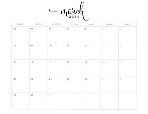 monthly calendar monday start world  printables