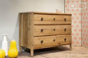 Commode Noir Et Bois : commode en bois sonia grands tiroirs bois ancien et pib ~ Teatrodelosmanantiales.com Idées de Décoration