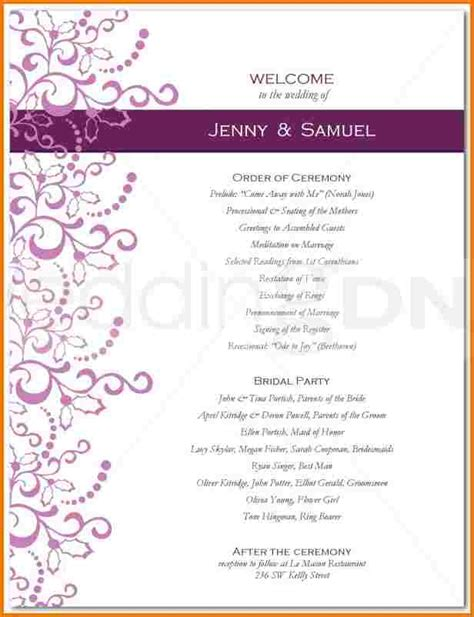 One Page Wedding Program Template  Authorization Letter Pdf