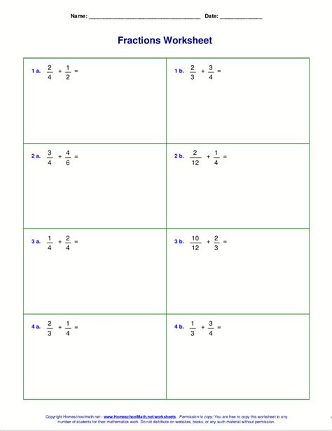 worksheets with adding fractions with unlike denominators worksheets for fraction addition