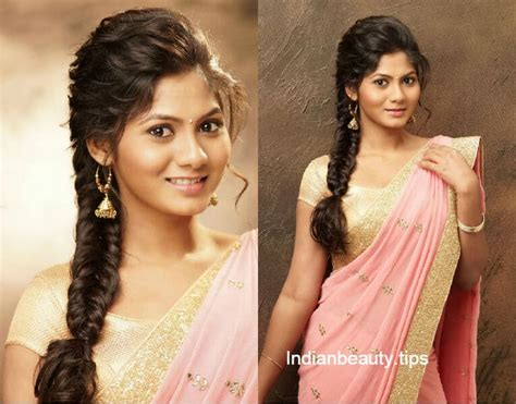 elegant  chic hairstyles     saree