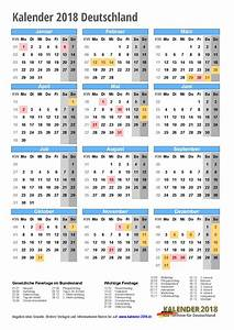 KALENDER 2018 mit Feiertagen Ferien Kalenderwochen