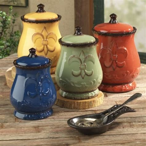 colorful kitchen canisters tuscany colorful painted fleur de lis canisters set of 4 82001 by ack country
