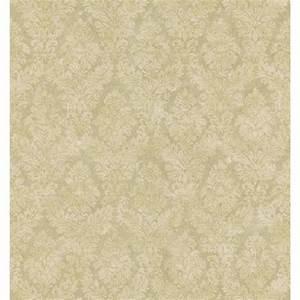 Brewster Textured Weaves Beige Textured Damask Wallpaper ...