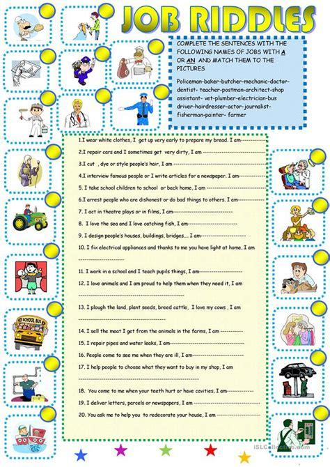 job riddles  worksheet  esl printable worksheets