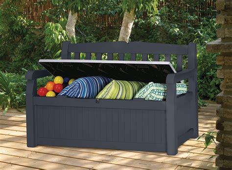 banc de rangement exterieur banc de jardin avec coffre rangement gris anthracite jardideco