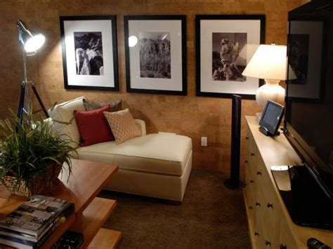 Media Room With Cork Walls And Comfy Chaise Longue Hgtv